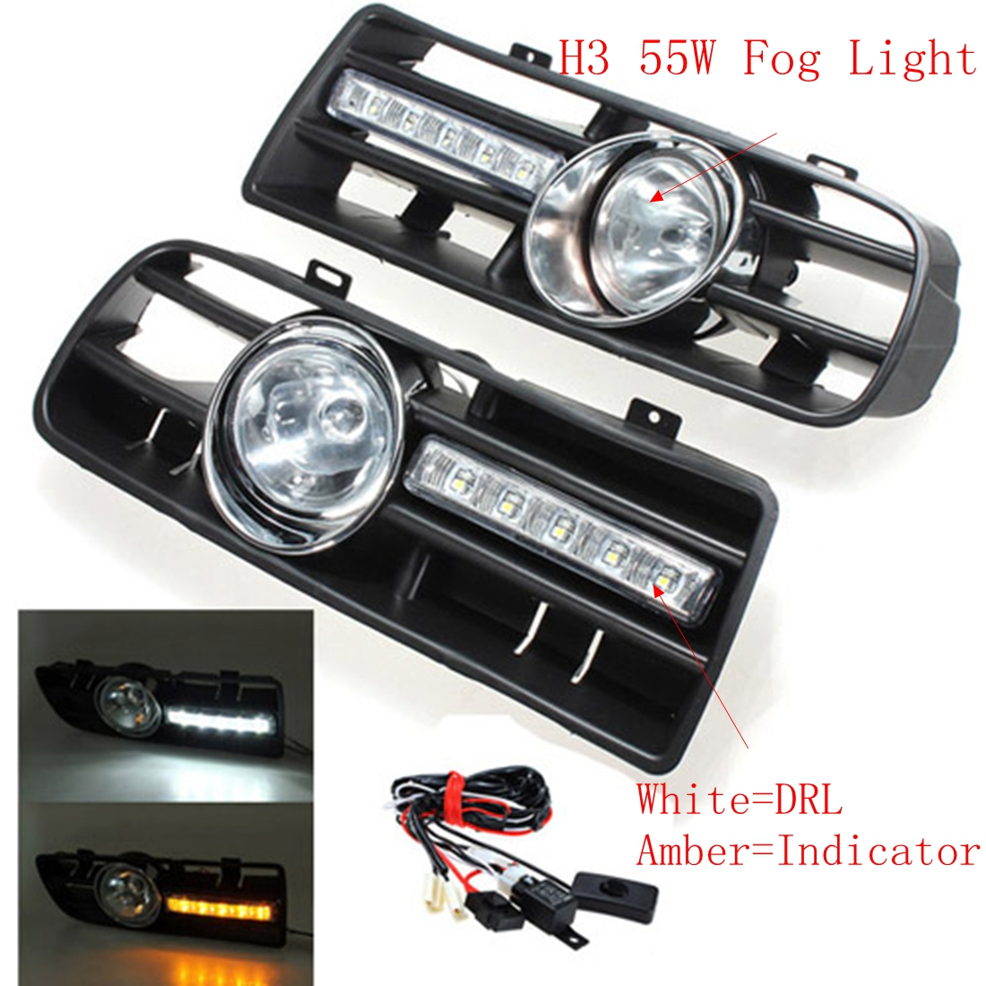 2Pcs for VW GOLF MK4 1997-2006 Car Front Bumper Grille Driving Fog Lamp Light Set With LED