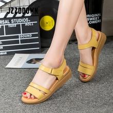 Genuine Leather Women Flats Beach sandals shoes ladies Platform Sneakers Flip Flop shoe 2018 summer Fashion Mid Heel footwear