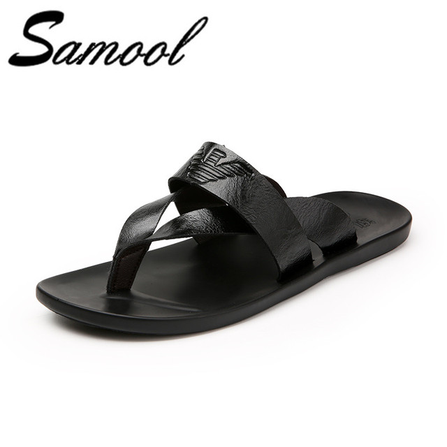 570d607a84bc 2018 New Arrival Summer Cool Men PU Leather Flip Flops British Style Beach  Sandals Mens Slippers Zapatos Hombre cx5