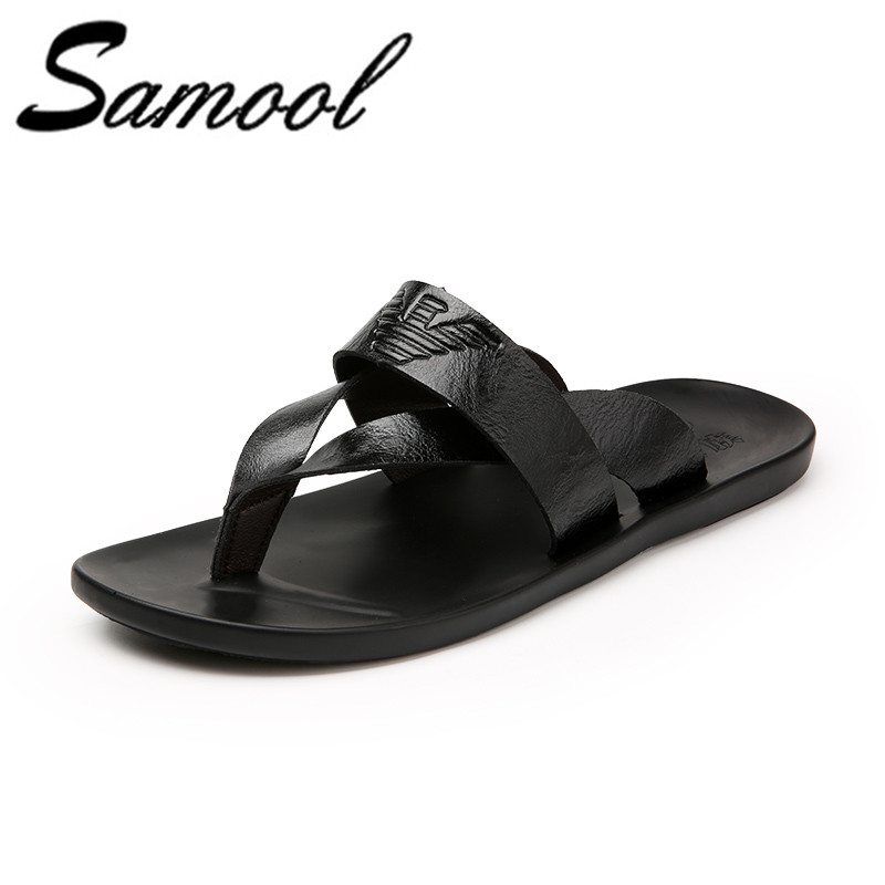 2018 New Arrival Summer Cool Men PU Leather Flip Flops British Style Beach Sandals Mens Slippers Zapatos Hombre cx5