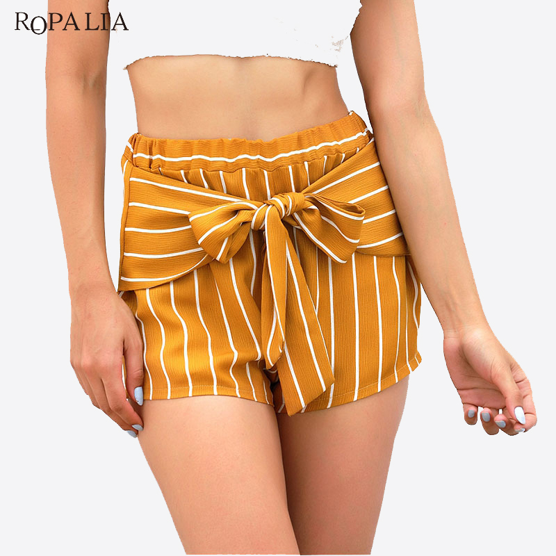 Summer Cross-Country Striped Mini Shorts Women's Mosaic High Waist Casual  Shorts Female Pantalon Corto Mujer Yellow