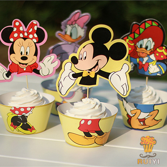 12pc Wrappers Toppers Minnie Mickey Mouse Cupcake Donald Duck Kids Birthday Party