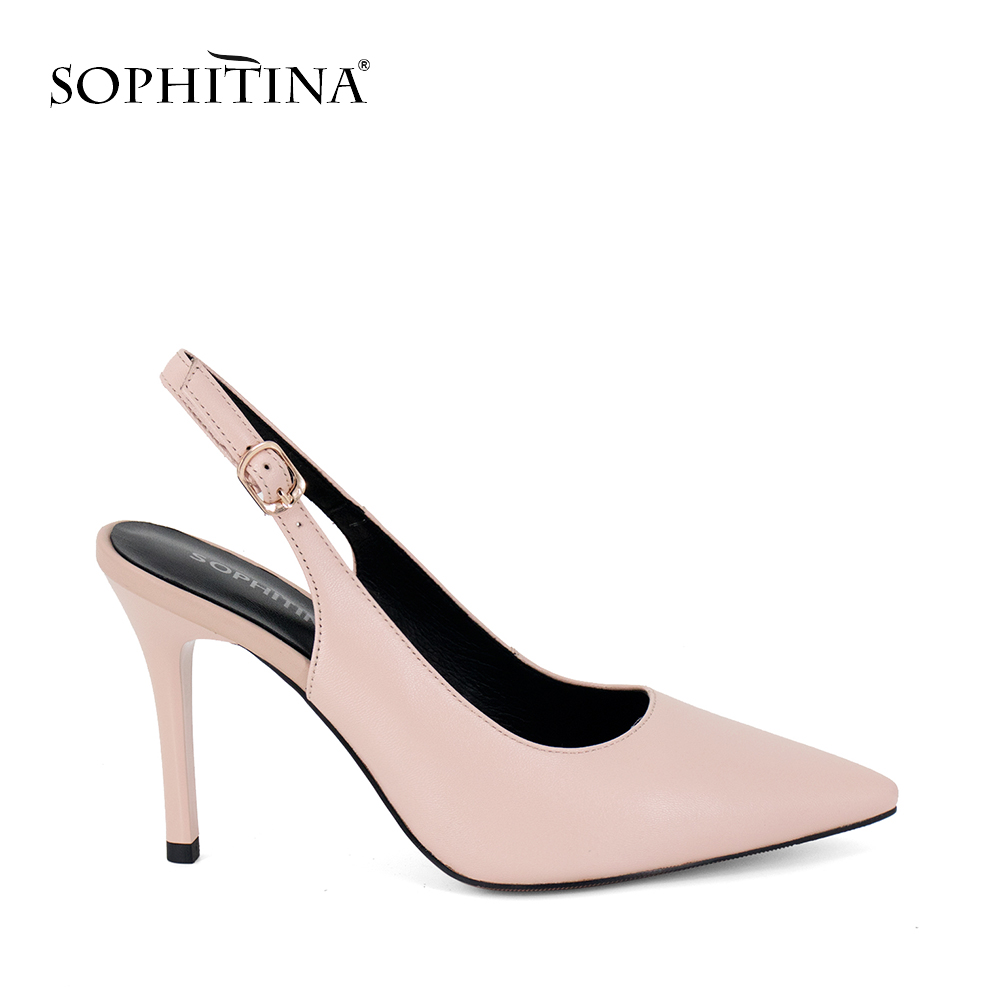 SOPHITINA Brand Lady Sandal Sheepskin Pointed Toe Lady Sexy High Thin Heel Shoe Solid Buckle Strap Wedding Party Women Shoes S04 2018 women high heel party pumps wedding sexy shoes lady thin heels 9 cm ankle buckle strap pointed toe rivet nightclub fashion