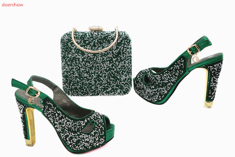 doershow Italian Shoes with Matching Bags for Woman Italian Ladies Shoes and Bag Set Decorated with Appliques Women Shoe  TN1-13 doershow african women matching italian shoe and bag set for wedding italian shoes with matching bags italy shoeshsk1 38