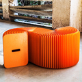 Fashion Creative Orange Kraft Paper Folding Sofa,Modern Minimalist Design Space- saving Sofa for office room,3 people Seat