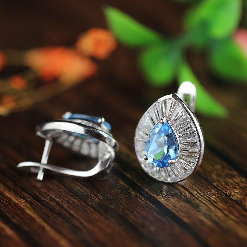S925 bijoux en argent micro incrustations Ruili femme boucles d'oreilles en forme de goutte