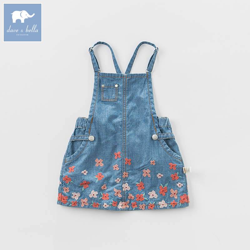 DBB6918 dave bella spring infant baby girl s denim dress fashion strap dress birthday suspenders dress