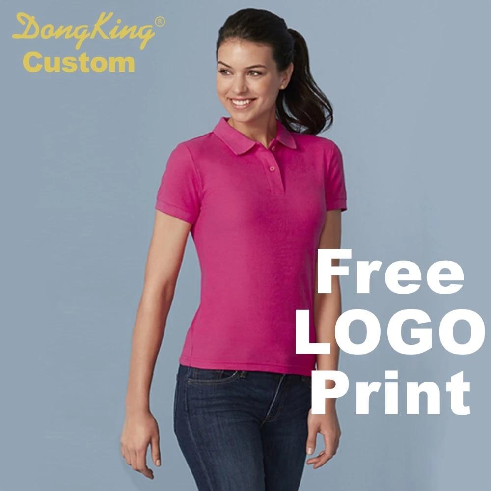 US $19.9  DongKing Custom Polo Shirt double pique knit Cotton Women Semi Short Sleeves Shirts Custom Print Logo Personalized Team Gift logo polo