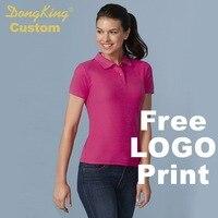 DongKing Custom Polo dubbele pique knit Katoen Vrouwen Semi Korte Mouwen Shirts Custom Print Logo Gepersonaliseerde Team Gift