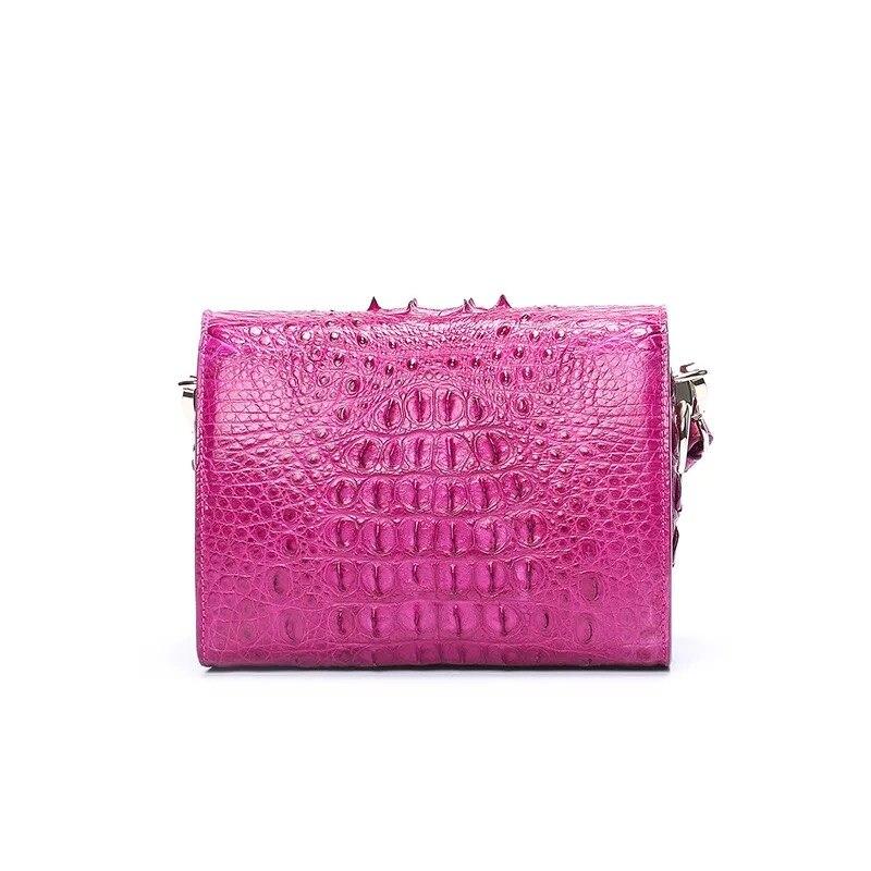 Fantaisie véritable peau de Crocodile femmes Mini sac à main dame large bandoulière boîte sac en cuir véritable Alligator femme bleu Messenger sac - 5