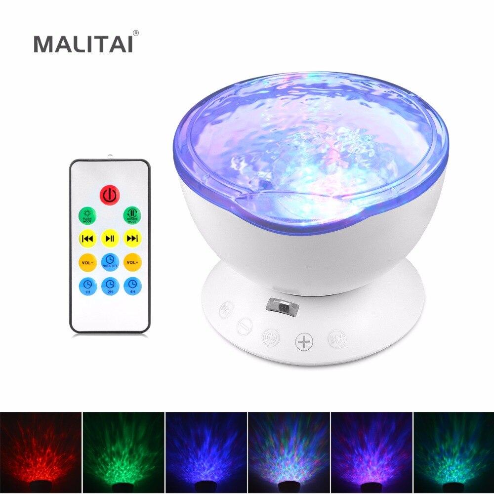 Novelty lighting Ocean Wave Projector LED RGB lamp USB Port Speaker Decorative Night Holiday light Christmas light For Baby Gift