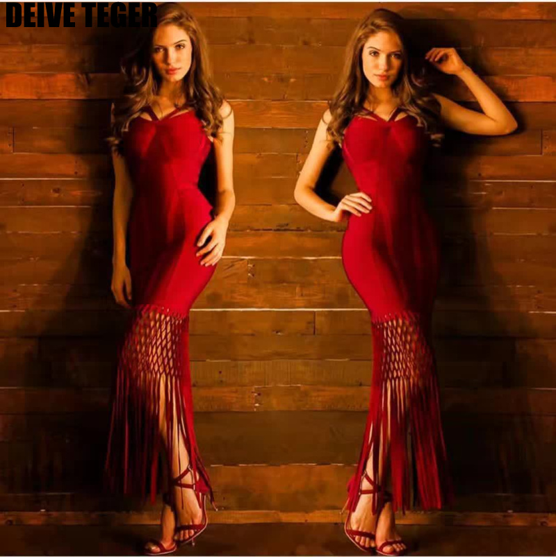 DEIVE TEGER maxi gown dress red  tassels lacing fringe Elegant Bandage Vestidos Women  pencil  spaghetti strap long Dress HL3093