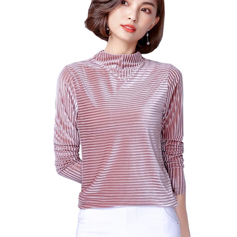 Long sleeve velvet top women's shirt 201
