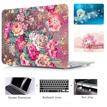 цена на laptop Hard Shell Case+Keyboard Cover+Screen Film+Dust plug For Macbook Air 11 13 Pro 13 15 With Retina Touch Bar 12 13 15 inch