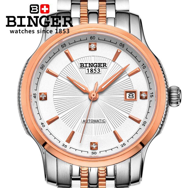 Szwajcaria BINGER zegarki mężczyźni luksusowa marka Mechanizm - Męskie zegarki - Zdjęcie 2