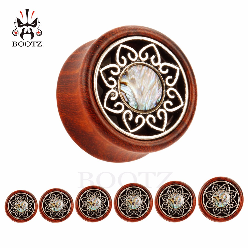 wood metal plugs with shell design ear tunnels ear gauges piercing body jewelry mix sizes wholesale