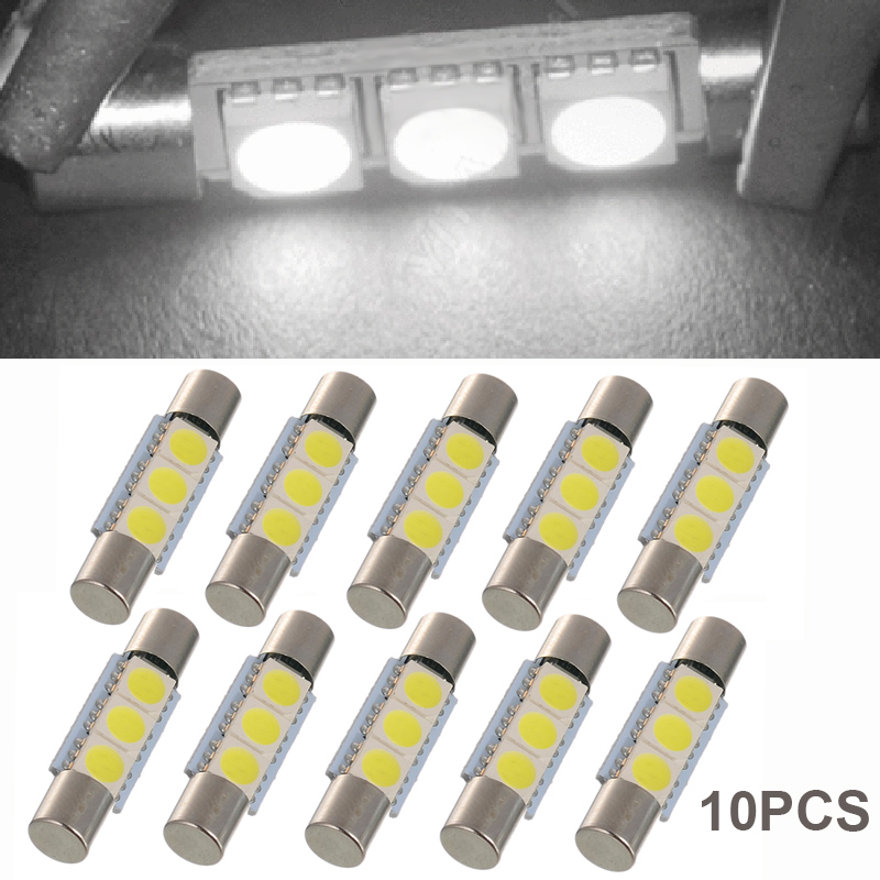 Us 3 09 30 Off 10pcs 5050 Led Dome Light 29mm 3smd Led Fuse Festoon Vanity Mirror Light Bulb For 6641 Ts 14v1c Interior Car Lamp In Signal Lamp From