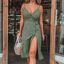 CUPSHE 여성 솔리드 그린 V 넥 프론트 버튼 사이드 슬릿 드레스 2020 뉴 여름 슬림 민소매 Sundress 스파게티 스트랩 Vestido