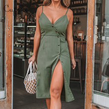 CUPSHE Women's Solid Green V neck Front Button Side Slit Dress 2019 New Summer Slim Sleeveless Sundress Spaghetti Straps Vestido button front denim slit dress