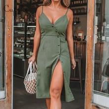 CUPSHE kadın düz yeşil V boyun ön düğme yan yarık elbise 2020 yeni yaz ince kolsuz Sundress spagetti sapanlar vestido