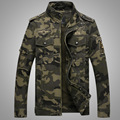 2016 Autumn New Fashion Mens Military Style Casual Camouflage Jacket Army Soldier Wear Regular Fit Mandarin Collar 3XL