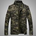 2016 Outono Nova Moda Dos Homens de Estilo Militar Casuais Jaqueta Camuflada Do Exército Soldado Desgaste Regular Fit Mandarim Colarinho 3XL