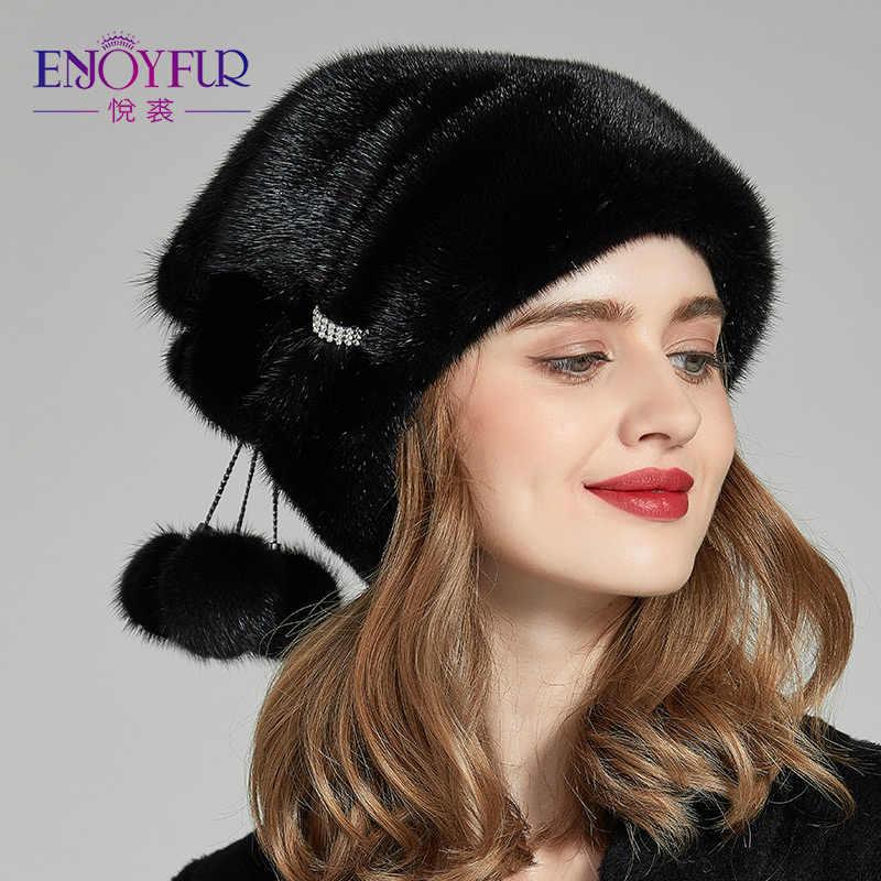 11feadb2409 ENJOYFUR Winter Mink Fur Women Hats Real Fur Pompom Female Fashion Cap 2018  New Luxurious Mink