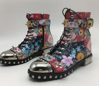 Модные ботильоны 2019 г. обувь из материала с узором женская повседневная обувь с круглым носком мотоциклетные ботинки размер 35 41