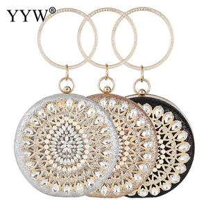 Image 2 - YYW Ladies świecący Rhinestone okrągły wieczorowa kopertówka eleganckie torebki wesele torebka torebka z kryształkami torebka złota