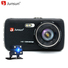 "Junsun H7 IPS 4.0 ""samochód DVR Kamera z Dwoma Obiektywami Z LDWS ADAS FHD 1296 P Registrator Night Vision Video Recorder rejestratory Samochodowe Dashcam"