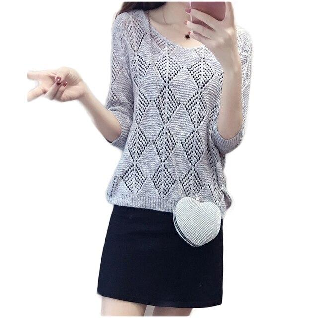 נשים אופנה סרוג קיץ בסוודרים רשת בז 'סרוג Jumper סוודר חולצות אופנה למשוך בגדי דק מגשרים חדש הגעה