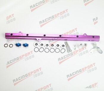 Apto para Toyota 2JZ Billet Efi Kits de riel de combustible traje de 11mm inyectores de aluminio púrpura