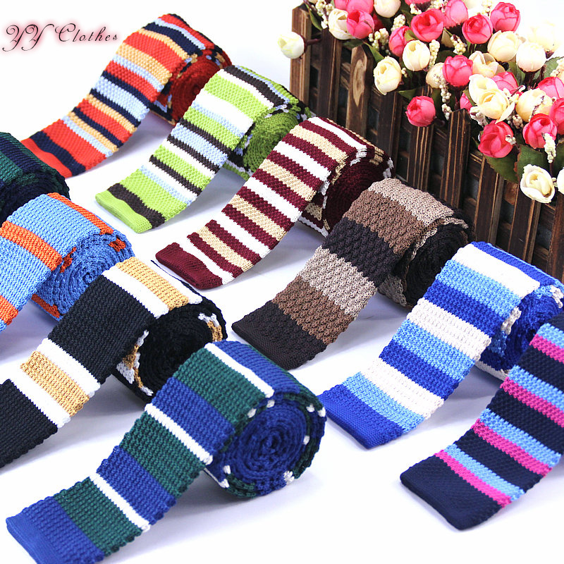 2016 Brand  New Trendy Autumn Men's Vintage Tie Knit Knitted Party Ties Necktie Narrow Slim Skinny Woven Colourful Stripe Ties