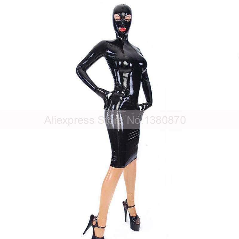 Couverture complète en caoutchouc Latex femmes robes à la main personnalisable Latex caoutchouc porter robe S-LD197