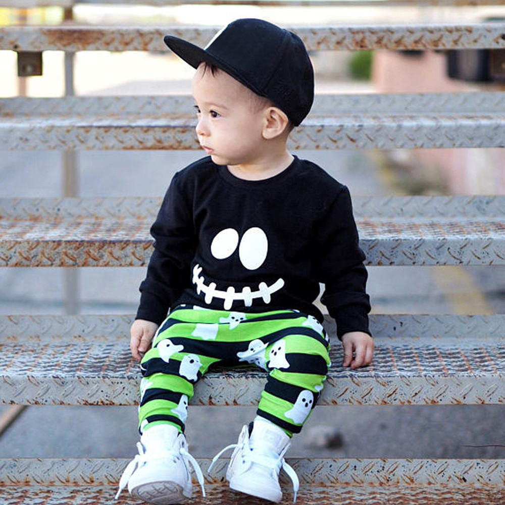 f9bb5d4386d3f Toddler Baby Boys Girls Cartoon Ghost Tops Pullover Pants Halloween Outfits  Set