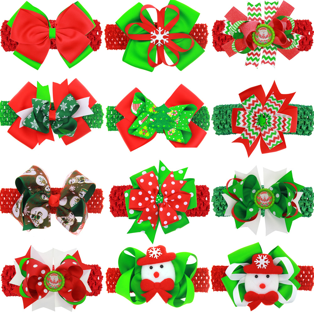 12PCS/LOT Lovely Snowman Wave Christmas Hair Bows Hairpin Headband kids With Clip Hair Accessories Best Christmas DIY Headwears halloween party zombie skull skeleton hand bone claw hairpin punk hair clip for women girl hair accessories headwear 1 pcs