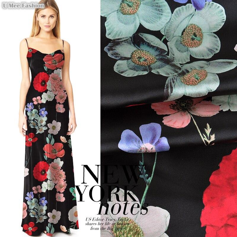 SP392 Pure Silk/Flower Series/Silk Fabric Mulberry Silk Elastic 93% Silk 7% Spandex/Width 1.18yd Thickness 19mm