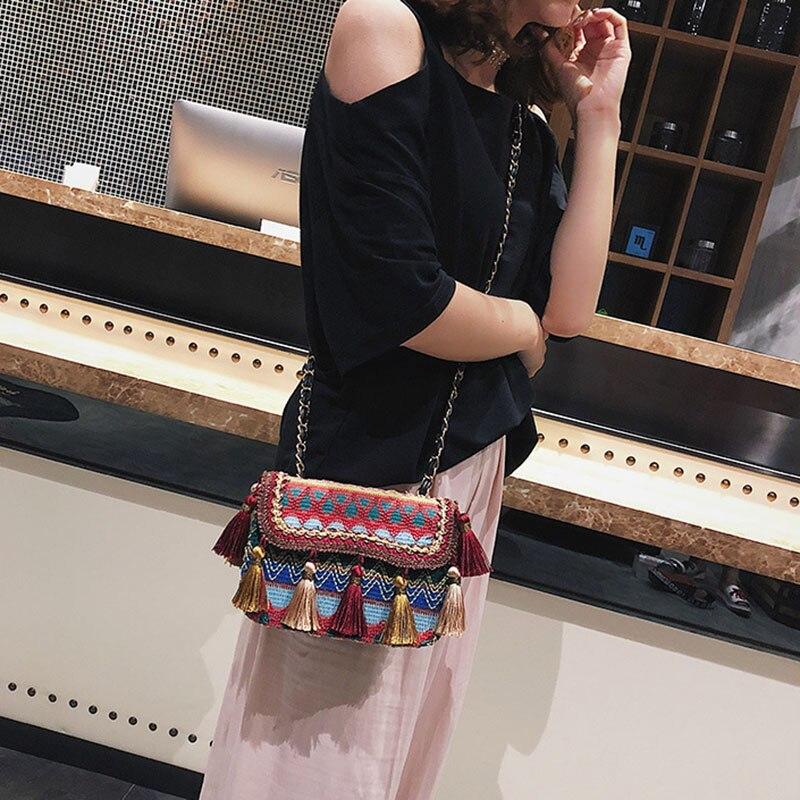 New Women Tassel Fashion Straw Bag INS Popular Female Summer Handbag Chains Lady Casual Shoulder Bag Beach Knit Crossbody SS3307 (13)