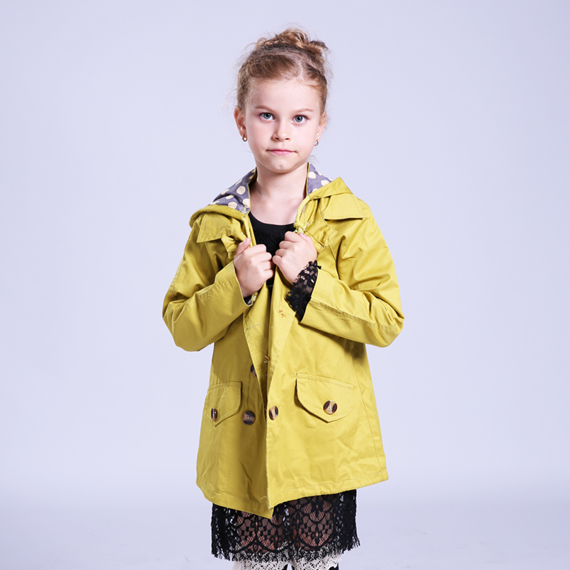 Jackets For Girls Fashion Coats Cotton Children Jackets Kids Double-breasted Clothes Big Child Windbreakers Casaco Outfits 6-14Y