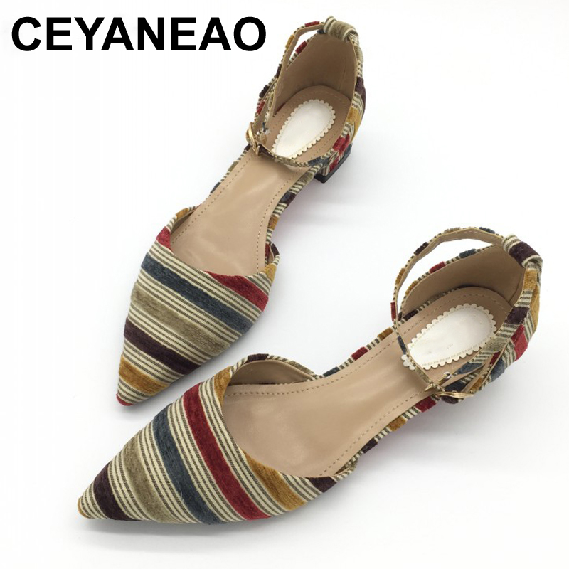CEYANEAO Newest Shoes Women Fashion Female Pumps Stripe Shallow Square Heel Buckle Strap Summer Ladies Work Shoes Footwear E792