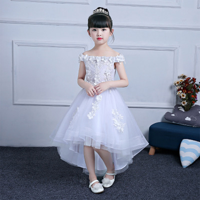 Children Shoulderless Wedding Dress Trailing Appliques Party Tulle Princess Birthday Dress First Communion Gown Custom Made E3 цена 2017