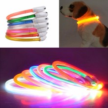 Adjustable USB Charging Pet Dog Collar Rechargeable LED Tube Flashing Night Dog Collars Glowing Luminous Safety Pets Dog Collar