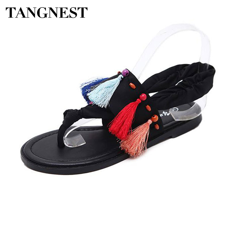 Tangnest NEW Summer Gladiator Sandals Women Colorful Fringe Flat Flip Flops Bohemia Style Slip-on Beach Sandals Size 35~40