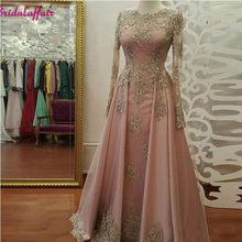 2d75c41a2a 2019 Modest Prom sukienka Z Długim Rękawem Blush różowe suknie balowe Nosić  Koronki Aplikacje Kryształ Suknie Wieczorowe Kaftan .