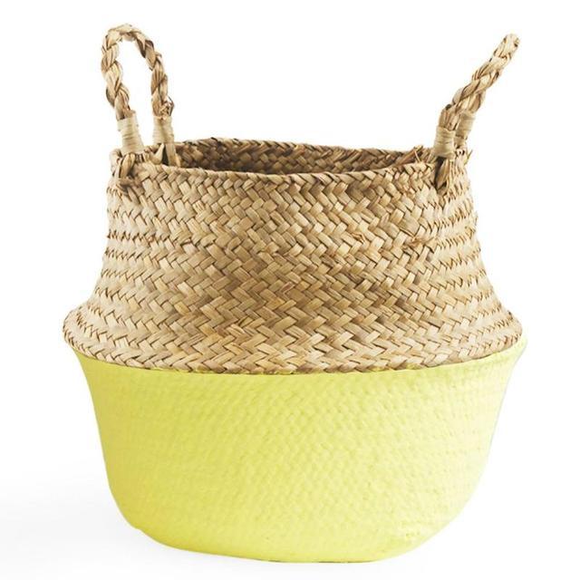 4f567b9091b5 Handmade Basket Seagrass Belly Storage Baskets Straw Basket White Wicker  Basket Storage Bag Colourful Garden Flower Pot Planter