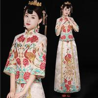 Oriental bride Outfit High quality Hand weaving Pink Beige Cheongsam wedding dress For Overseas Chinese Women Sexy Long Qi Pao