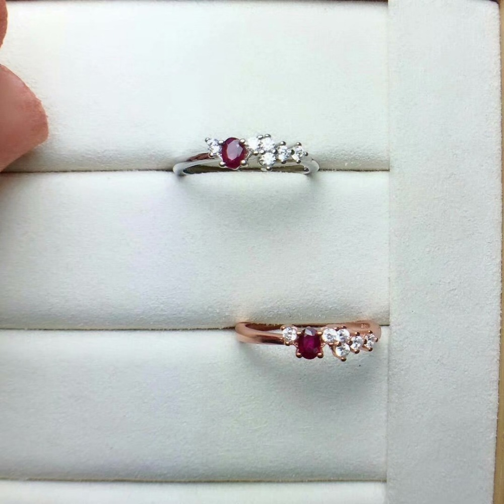 Shilovem 925 Sterling Silver Natural Red RUBY Rings Fine Jewelry Women Trendy ETHNIC Wedding Bands Open 3*4mm Cj030401agh