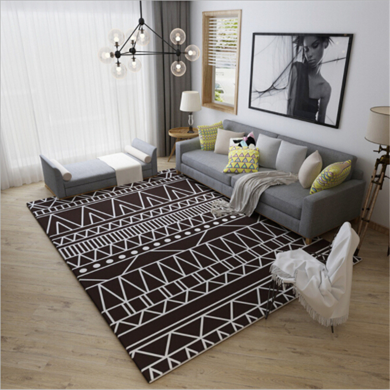 Simple black and white nordic style large carpets for - Black and white living room rug ...