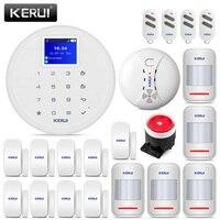Güvenlik ve Koruma'ten Alarm Sistemi Kitleri'de KERUI G17 1.7 inç düşük maliyetli hırsız alarmı kitleri kablosuz ev güvenlik GSM Alarm sistemi iPhone IOS Android APP kontrolü