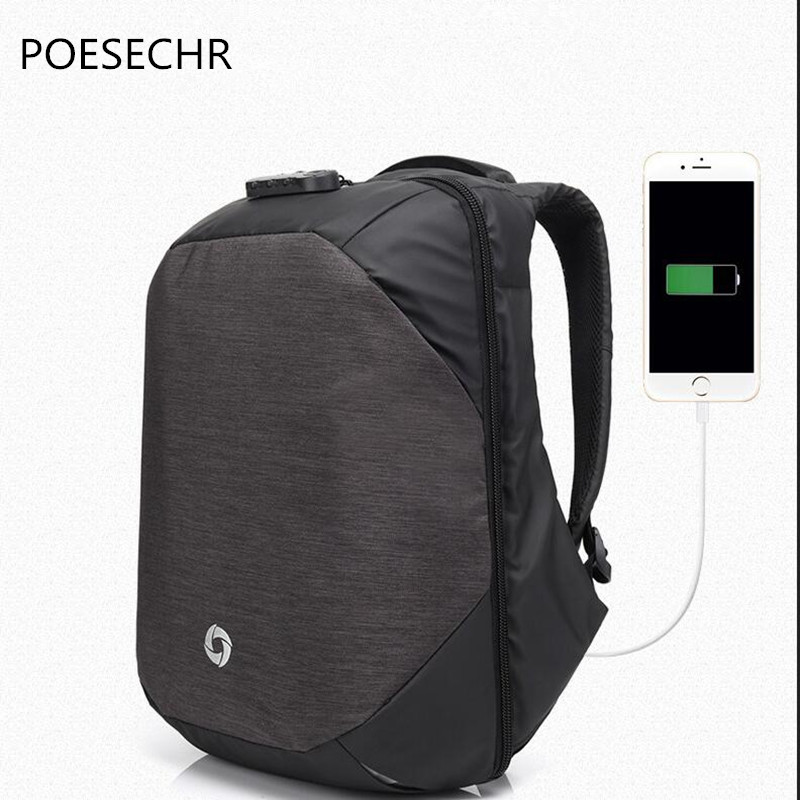 POESECHR Brand Notebook Backpack 16ch  Waterproof Laptop Backpack For Men Women External USB Charge Computer Antitheft Bag